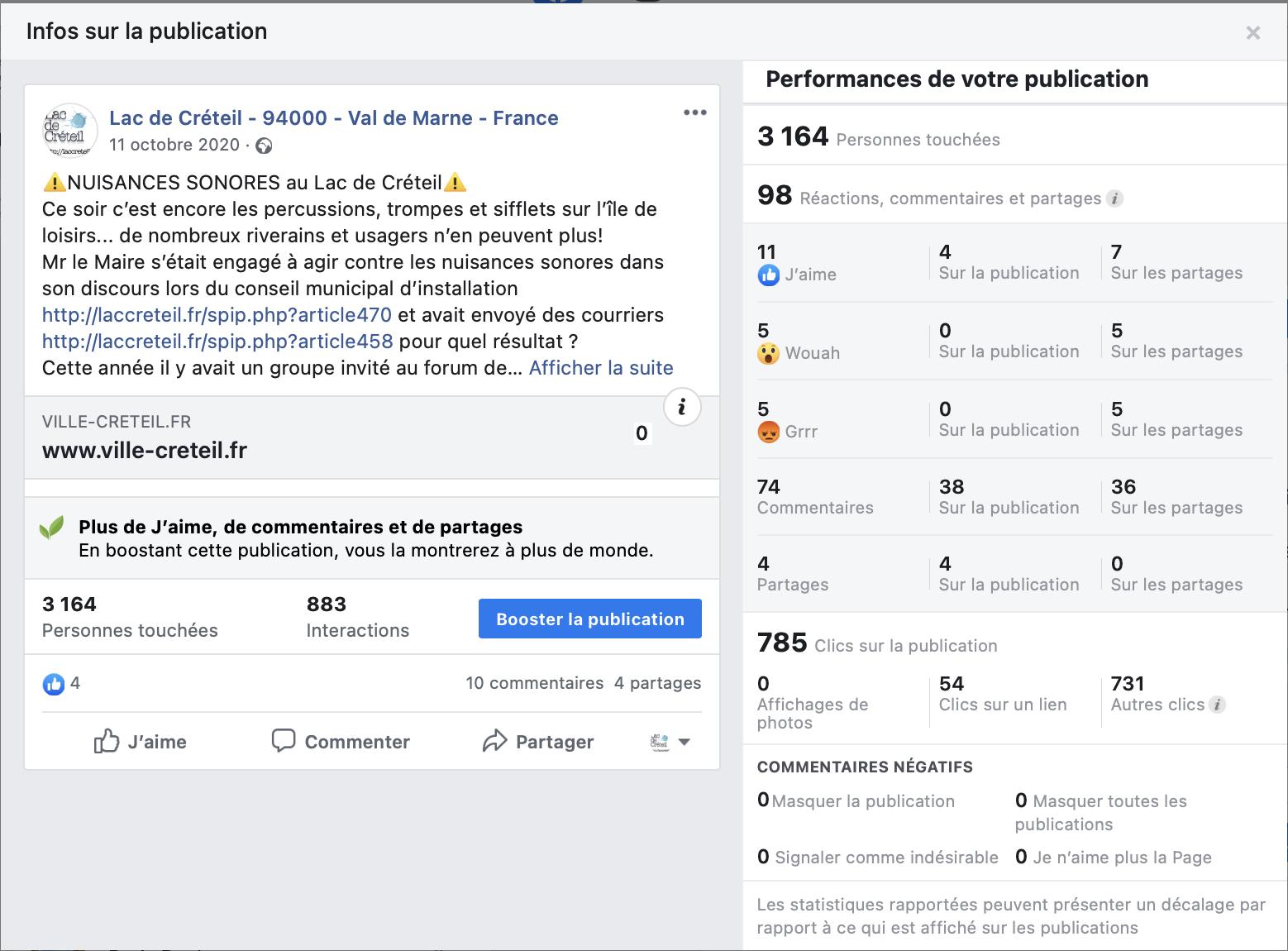 Plus 3160 Personnes touchées, avec 98 réactions, commentaires et partages...