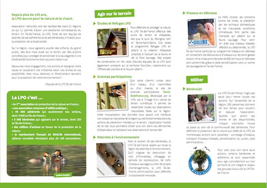 Plaquette de présentation de la LPO Île-de-France page 2/2